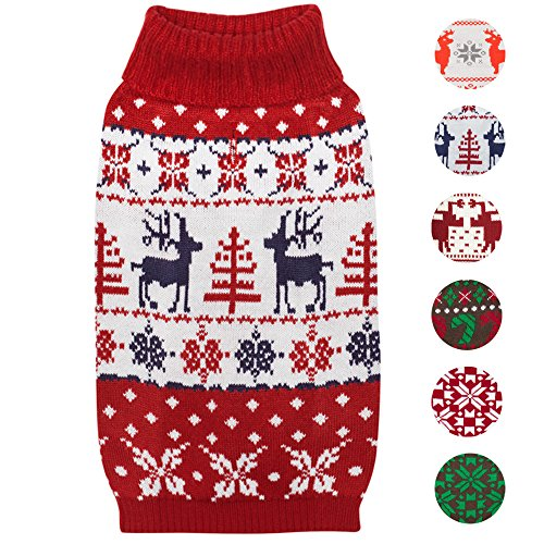 Blueberry Pet 6 Patterns Vintage Ugly Christmas Reindeer Holiday Festive Pullover Dog Sweater in Tango Red & Navy Blue, Back Length 20