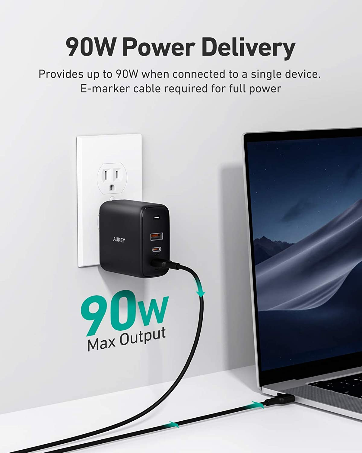 PD Charger USB C Fast Charger USB C Laptop Charger for MacBook Pro 16 AUKEY Omnia 90W 3-Port MacBook Pro Charger with GaNFast Technology Galaxy S20+//Note 20 Black iPhone 11 Pro Max USB C Charger
