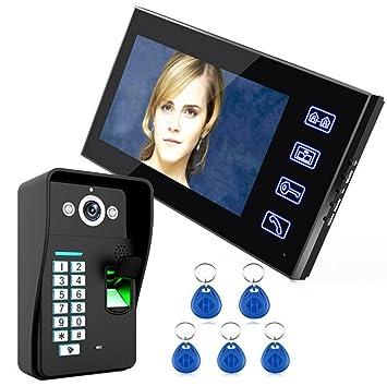 NWYJR Video-Türklingel 7-Zoll-LCD-Fingerprint-Video-Türsprechanlage ...