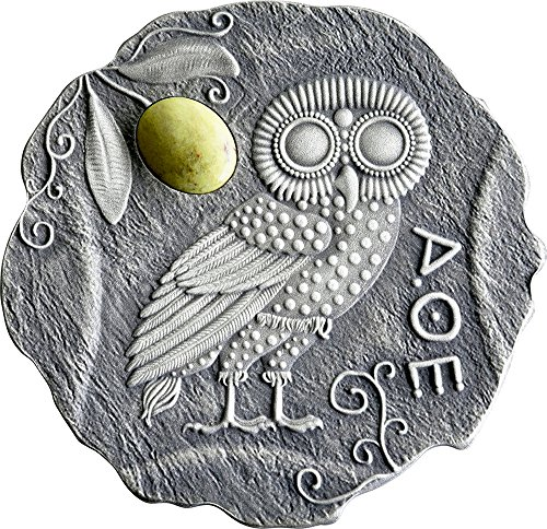 2017 CM Modern Commemorative PowerCoin OWL OF ATHENA Jasper Silver Coin 500 Francs Cameroon 2017 Antique (Athena Finish)