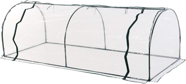 Serre de Jardin Tunnel Serre /à tomates 2,5L x 1l x 0,8H m Grande Porte zipp/ée b/âche PVC Transparent m/étal /époxy Vert