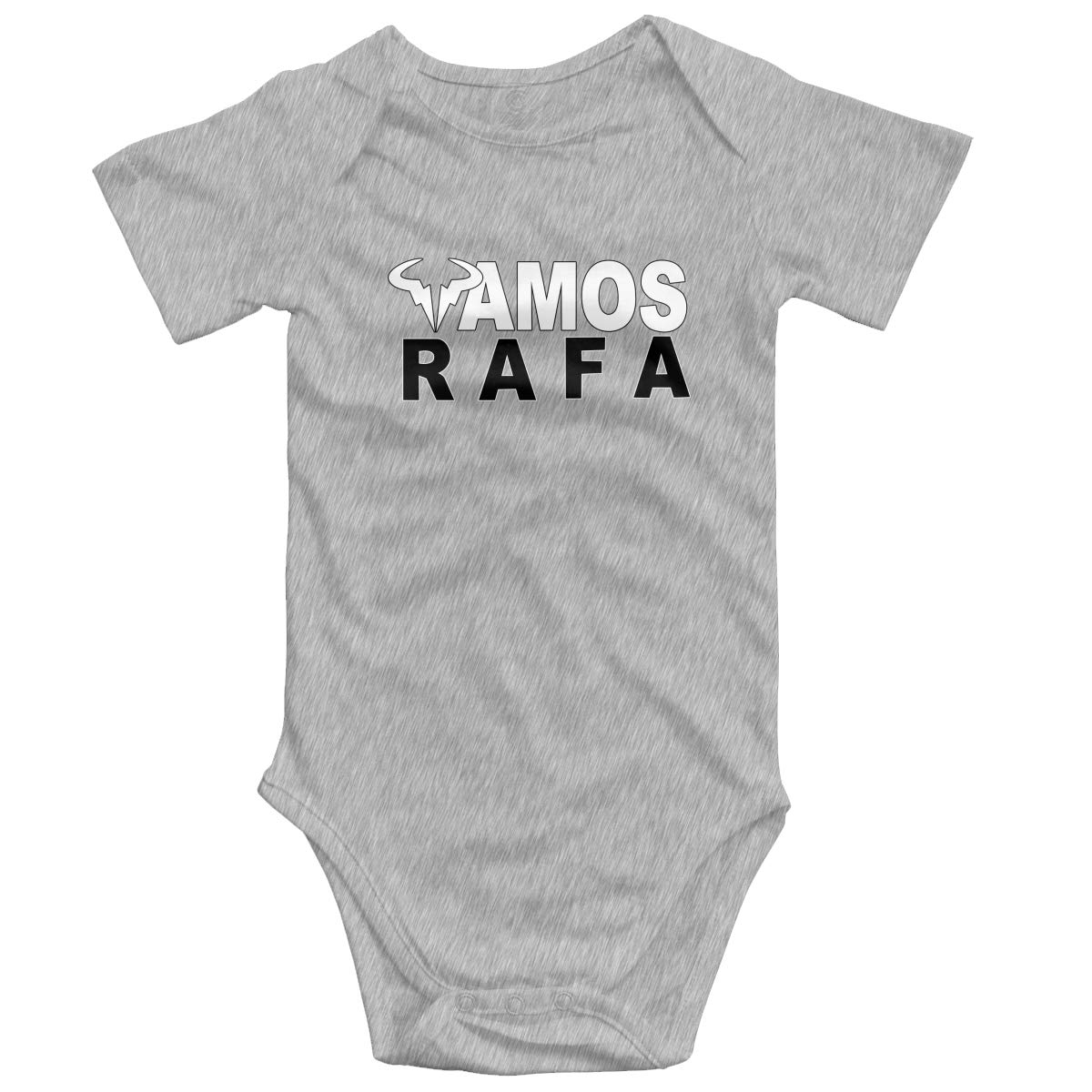 Koucas Baby Girls Boys RAFA Vamos Rafael Nadal Logo Kids Bodysuits Short Sleeve Cotton Tshirt T Shirt Tollder Clothes Gray 6M by Koucas