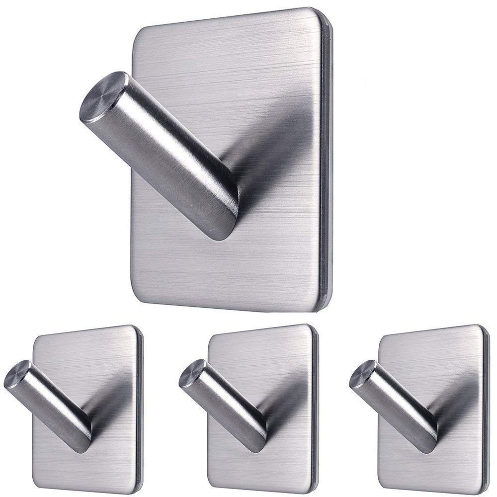Fotosnow Wall Hooks Adhesive Hooks Waterproof Stainless Steel Bathroom Kitchen Organizer Super Power Heavy Duty Wall Mount for Jackets, Bathrobes, Bath Towels, Towels, Hats-4 Pack