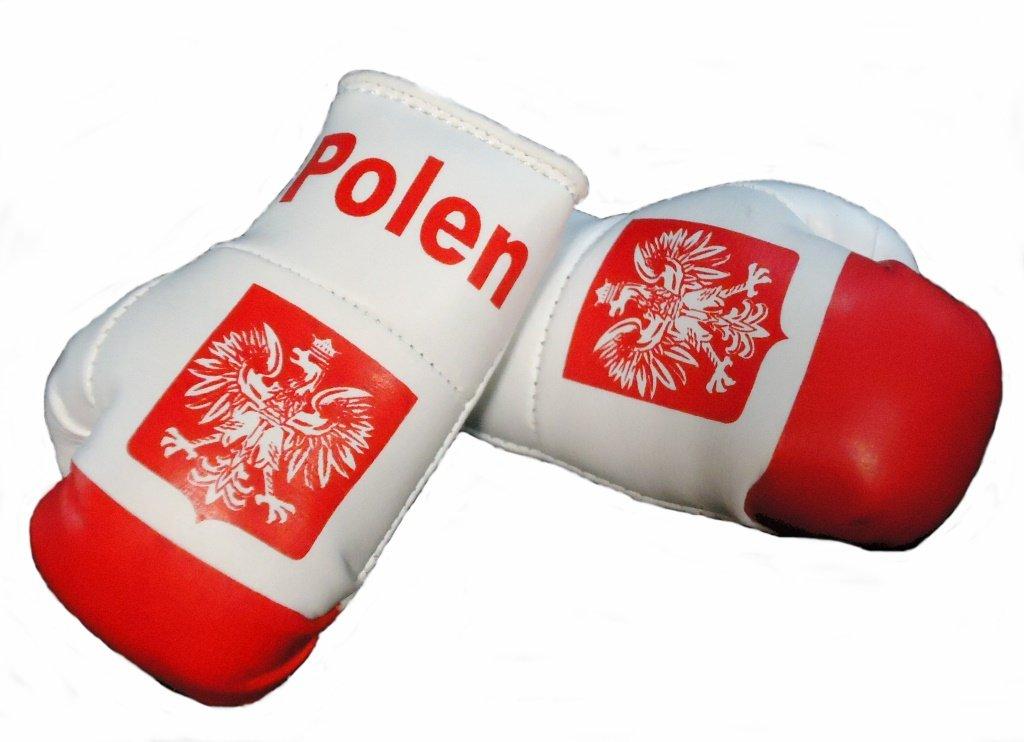 Mini Boxhandschuhe POLEN, 1 Paar (2 Stü ck) Miniboxhandschuhe z. B. fü r Auto-Innenspiegel NoName
