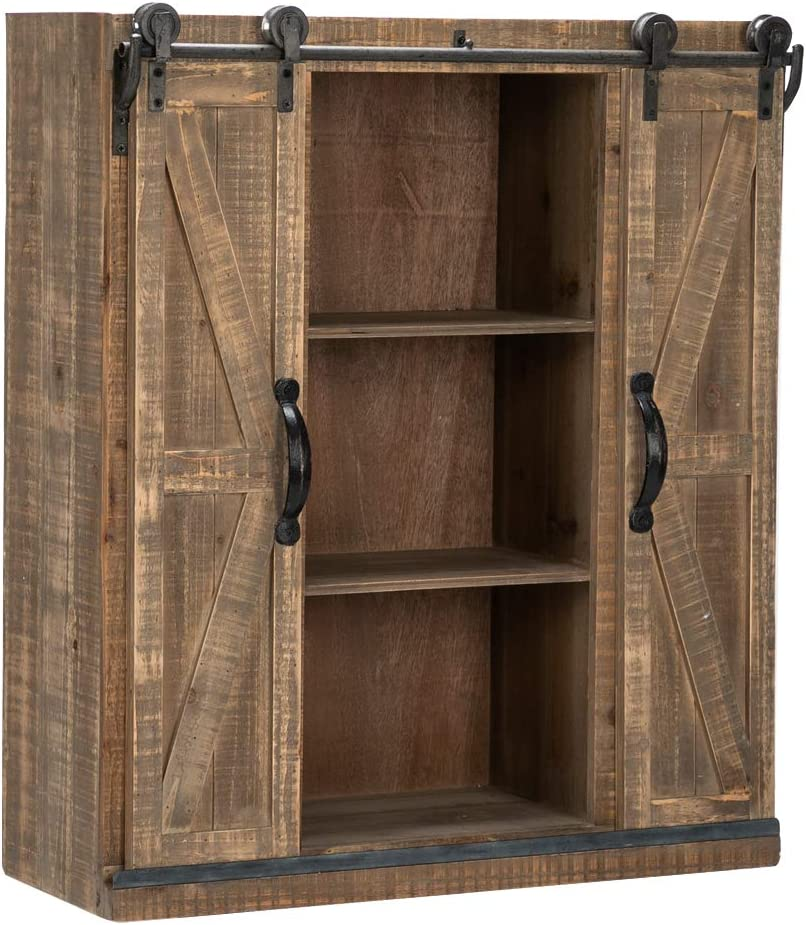 Amazon Com Bonnlo 32 H Rustic Wooden Wall Mounted Storage Cabinet With Sliding Barn Double Doors Farmhouse Vintage Cabinet For Kitchen Dining Bathroom Living Room Kitchen Dining