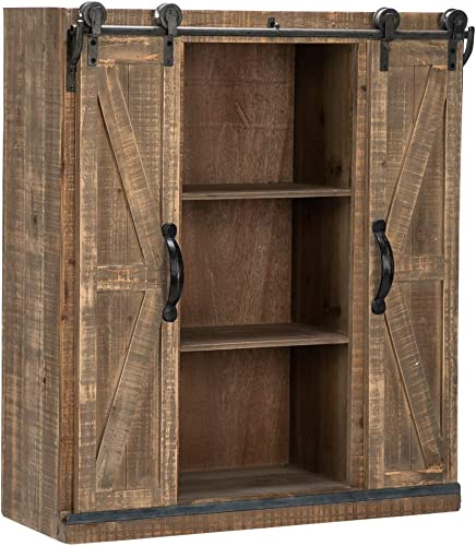 Bonnlo 32 H Rustic Wooden Wall Mounted Storage Cabinet with Sliding Barn Double Doors Farmhouse Vintage Cabinet for Kitchen Dining, Bathroom, Living Room