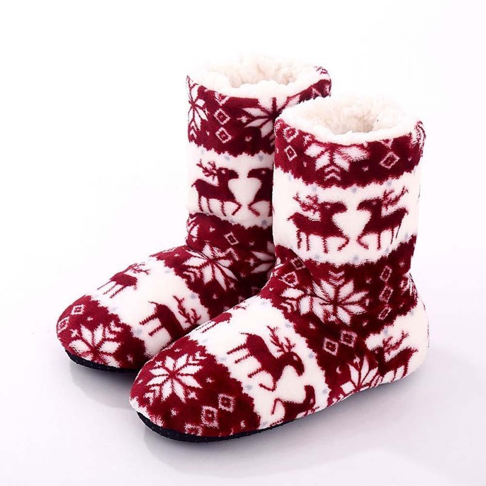 Women's Fleece Lining Fuzzy Soft Christmas Knee Highs Stockings Slipper Socks