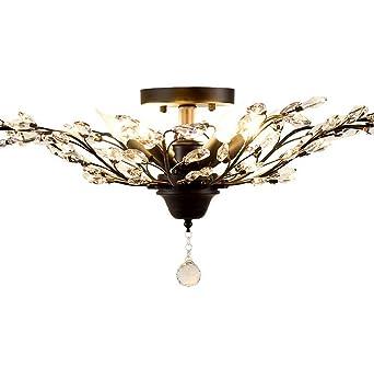 AYAYA Deckenlampe Schwarz Kristall Zweige Lampen USA Im Landhausstil Filiale Crystal Gross Deckenleuchte Dorf Design Wohnzimmerlampe