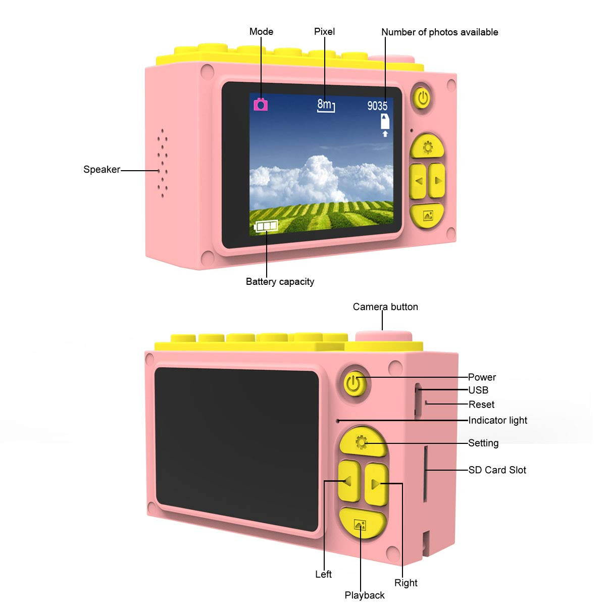 MAGENDARA Kids Digital Camera HD 1080P Children Camera with 2.0 Inch Screen Toy Camera for Boys Girls Birthday with Waterproof Case-Pink by MAGENDARA (Image #2)