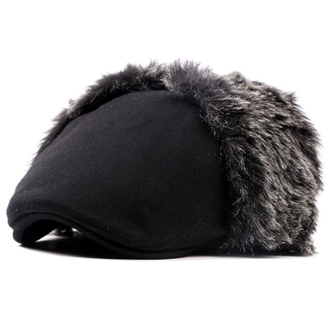 98c84ec93 Men's Winter Wool Peaked Beret Caps Fold Earmuffs Warm Hunting Hat ...