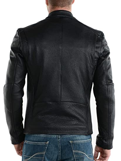 Exemplar Mens Genuine Lambskin Leather Jacket Black KL748 at Amazon Mens Clothing store: