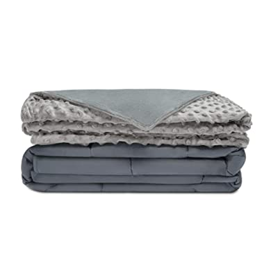 Quility Premium Adult Weighted Blanket & Removable Cover | 15 lbs | 60 x80  | for Individual Between 140-190 lbs | Full Size Bed | Premium Glass Beads | Cotton/Minky | Grey/Grey