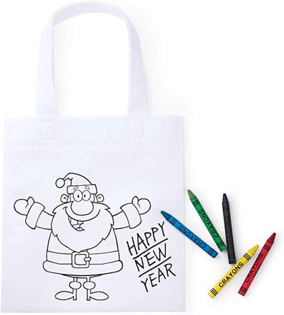 Lote de 50 Bolsas Infantiles Navidad para Colorear con 5 Ceras Incluidas en Cada Bolsa - Bolsas para Pintar y Colorear Infantiles Navideñas Papa Noel - Regalos Originales Navidad Niños
