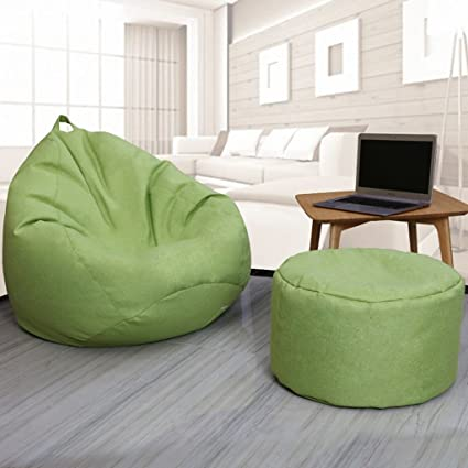 Amazon Com Bean Bags 2 Pieces Footstool Lazy Single Sofa Lounger