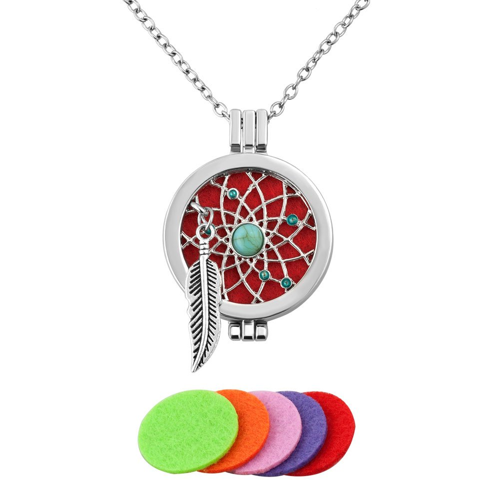 Third Time Charm Dream Catcher Necklace For Essential Oil Diffuser Aromatherapy Jewelry, 5 Refill Pads