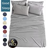 """Shilucheng King Size 6-Piece Bed Sheets Set Brushed Microfiber 1800 Thread Count Percale - 16"""" Deep Pocket Egyptian Sheets Beautiful Breathable Wrinkle Free & Fade Resistant (King, Grey)"""