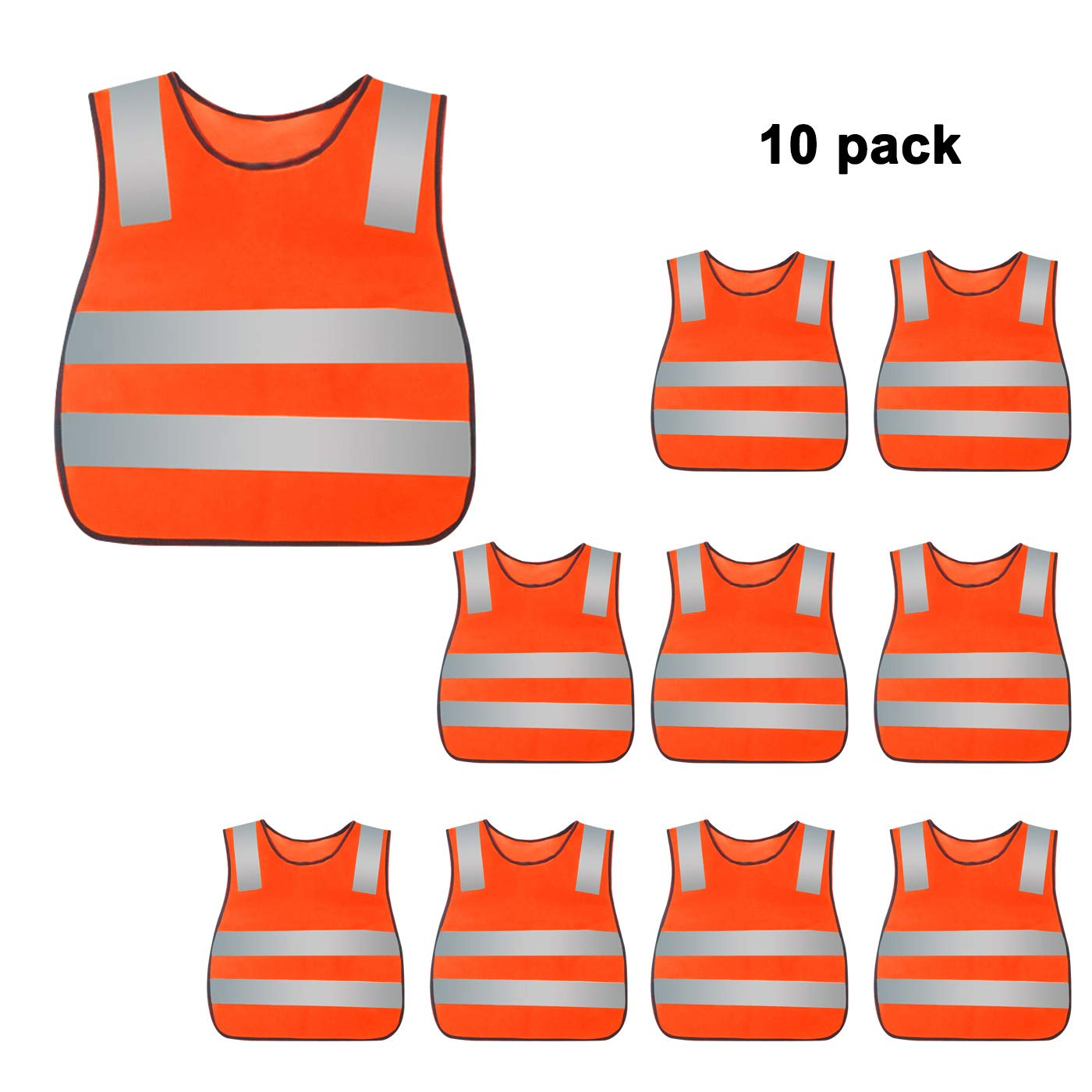 Kids Reflective Vest High Visibility Breathable Vest Bright Color Safety Vest Lightweight Traffic Vest Construction Worker Vest Neon Orange with Reflective Straps 10PCS by AIEOE (Image #1)