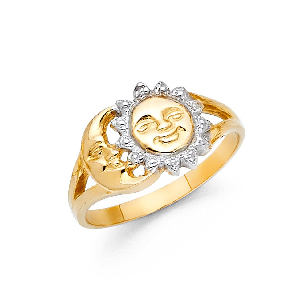 Solid 14k Yellow White Gold Sun & Moon Ring Band Polished Fancy Design Genuine Two Tone 10MM, Size 8