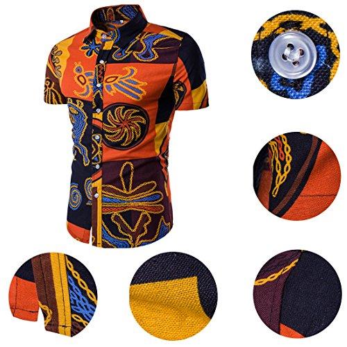 À Allthemen Orange Chemise Casual Homme Manches Coton Courtes Fleurs Été Bqaw6qXR