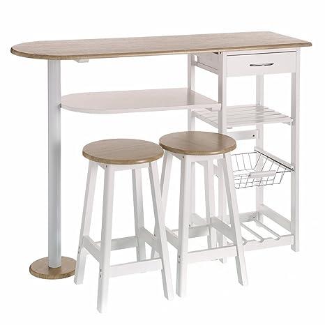 Lola Derek - Mesa de cocina bar moderna de madera blanca Basic ...