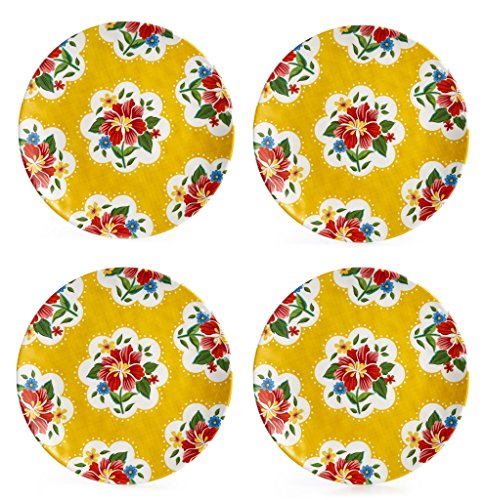 Certified International Frida Yellow Melamine 9-in Salad Plates, Set of (Yellow Floral Plate)
