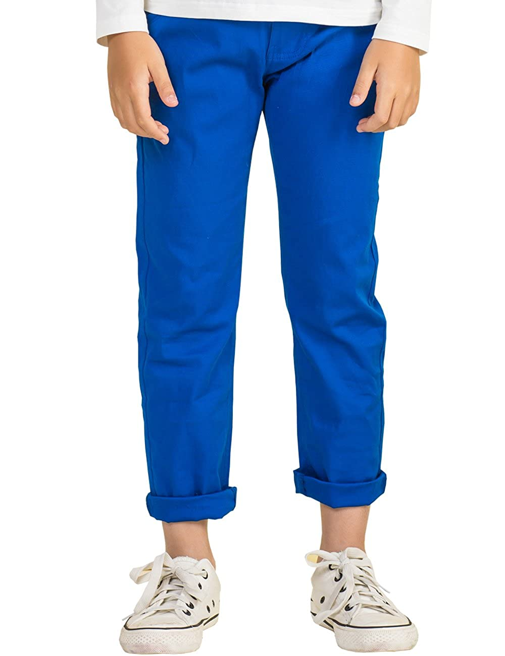 BYCR Boys Solid Color Elastic Chino Cotton Pant for Kids Size 4-16