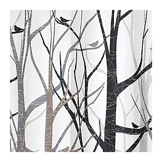 "iDesign Fabric Forest Shower Curtain for Master, Guest, Kids', College Dorm Bathroom, 72"" x 72"", Black and Gray - FABRIC SHOWER CURTAIN: high-quality wrinkle resistant 100% polyester black and gray fabric gives your shower stall a sleek look. Great for master bathroom, guest bathroom, child's bathroom, or basement bathroom STYLISH: Black and gray color scheme and beautiful forest print looks great with any decor REINFORCED BUTTON-HOLES: 12 reinforced button-holes are suitable for S hooks, shower rings, and other shower curtain hooks for easy hanging - shower-curtains, bathroom-linens, bathroom - 61q3ROpFMUL. SS570  -"