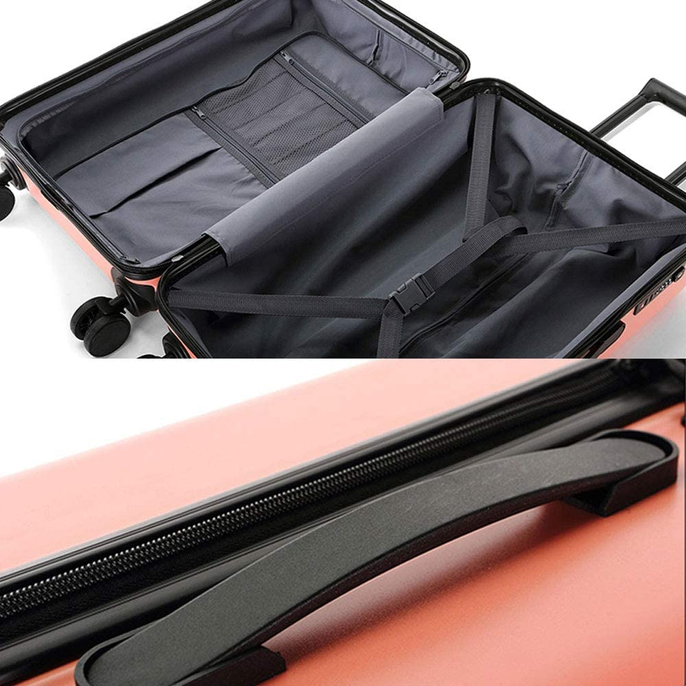 ABS//PC ZJ-Trolley Trolley case Small Fresh Solid Color Student Travel Trolley case TSA Customs Code Lock 4 Colors Optional /&/& Color : Red, Size : 382465cm Double Track Zipper