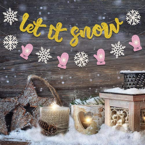 Let it Snow Banner Christmas Snowflakes Garland Snowman Themed Birthday Party Supplies Glitter Winter Wonderland Baby Shower Photo Prop Decorations ()