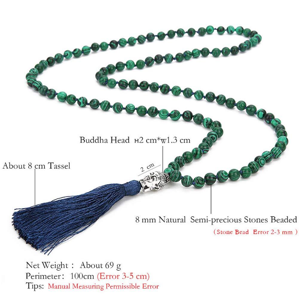 VEINTI+1 Bohemia Style 6//8mm 108 Malachite Beads with Buddha Head Tassles Pendant Womens Long Necklace Chain