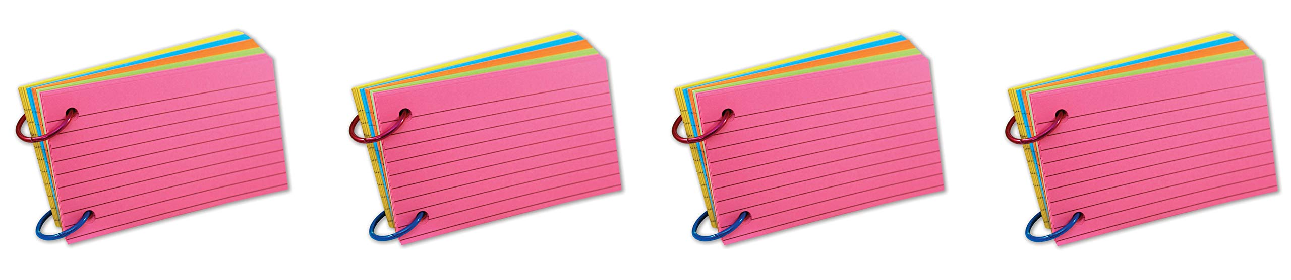 Top Notch Teacher Products TOP3674 Ring Notes, Lined, Assorted Bright Colors, 3'' x 5'', Pack of 75 (Fоur Paсk)