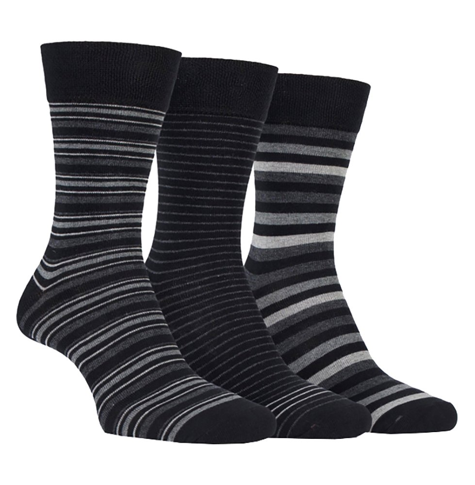 Farah - 3 Pack Mens Classic Striped Argyle Cotton Business / Casual Crew Socks (7-12 US, CS115BKCH (Striped)) by FARAH