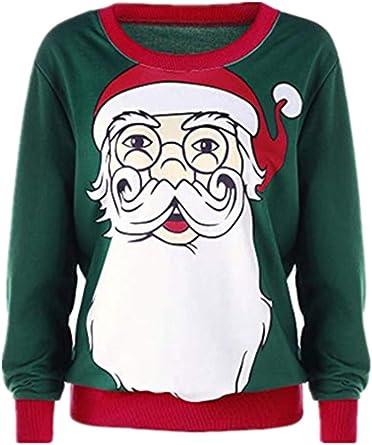 Womens Reindeer Mustache Sweater Ugly Christmas Winter Santa Long Sleeve T-Shirt