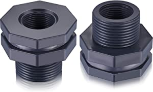 2 Pieces PVC Bulkhead Fitting for Rain Barrels, Aquariums, Water Tanks (3/4 Inch)