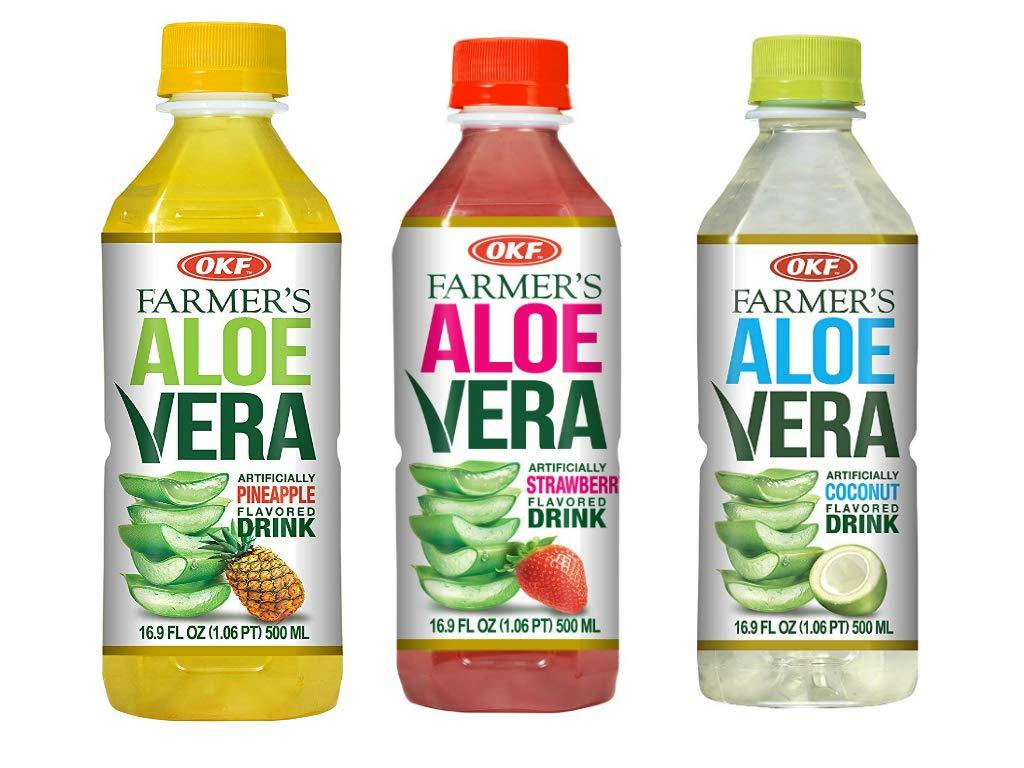 OKF Farmer's Aloe Vera Drink, Strawberry (16.9 Fl Oz, Strawberry, Pineapple, Coco)