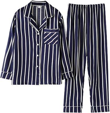 Rojeam Pijamas Mujer Hombre Invierno Pijamas Seda Manga Larga Ropa de Dormir 2 Piezas