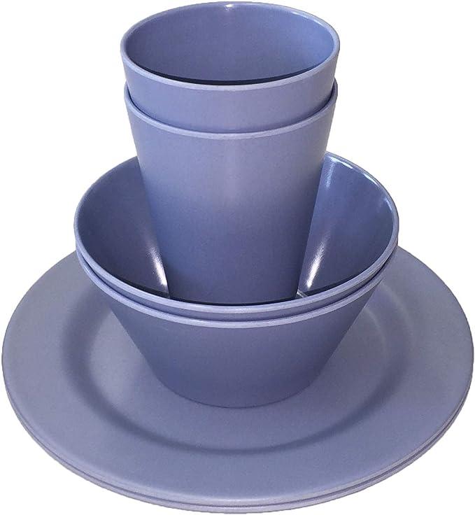 Wildfox Juego de picnic de 6 piezas para uso en interiores y exteriores, de bambú, vajilla de camping para 2 personas, 2 platos, 2 vasos y 2 cuencos.