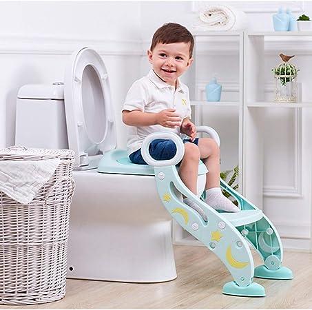 Shykey Almohadilla de baño para niños, Escalera de baño Auxiliar, Asiento de baño para bebés, Inodoro portátil Plegable,Green: Amazon.es: Hogar