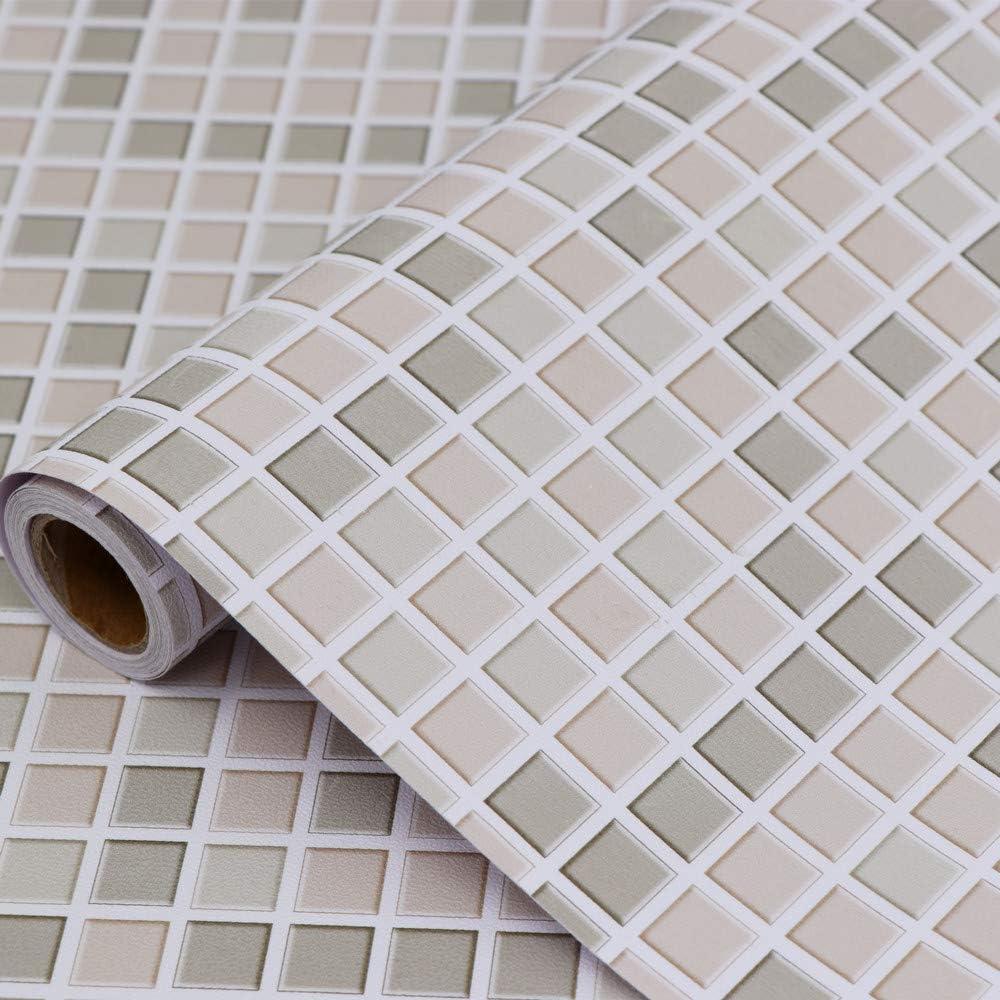 Hode Mosaico Papel Adhesivo para Azulejos Cocina 40X300cm Impermeable Papel Pintado Autoadhesivo Baño Cocina Marrón Claro Vinilo Decorativos