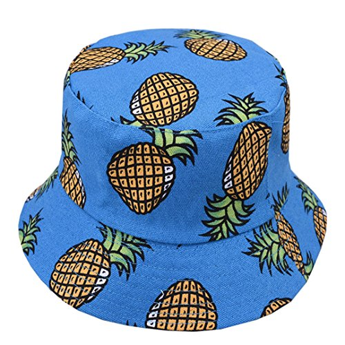 Pineapple Pattern Bucket Hat Unisex Fruit Print Fisherman Cap Summer Packable Reversible Sun Hat (Blue) ()