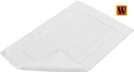 Westlane Linens - 2 piezas - alfombra de baño con banda, [No es una alfombra de baño] - 50 x 70 cm, 100% algodón hilado en anillo - Toalla de baño lavable muy absorbente (blanca): Amazon.es: Hogar