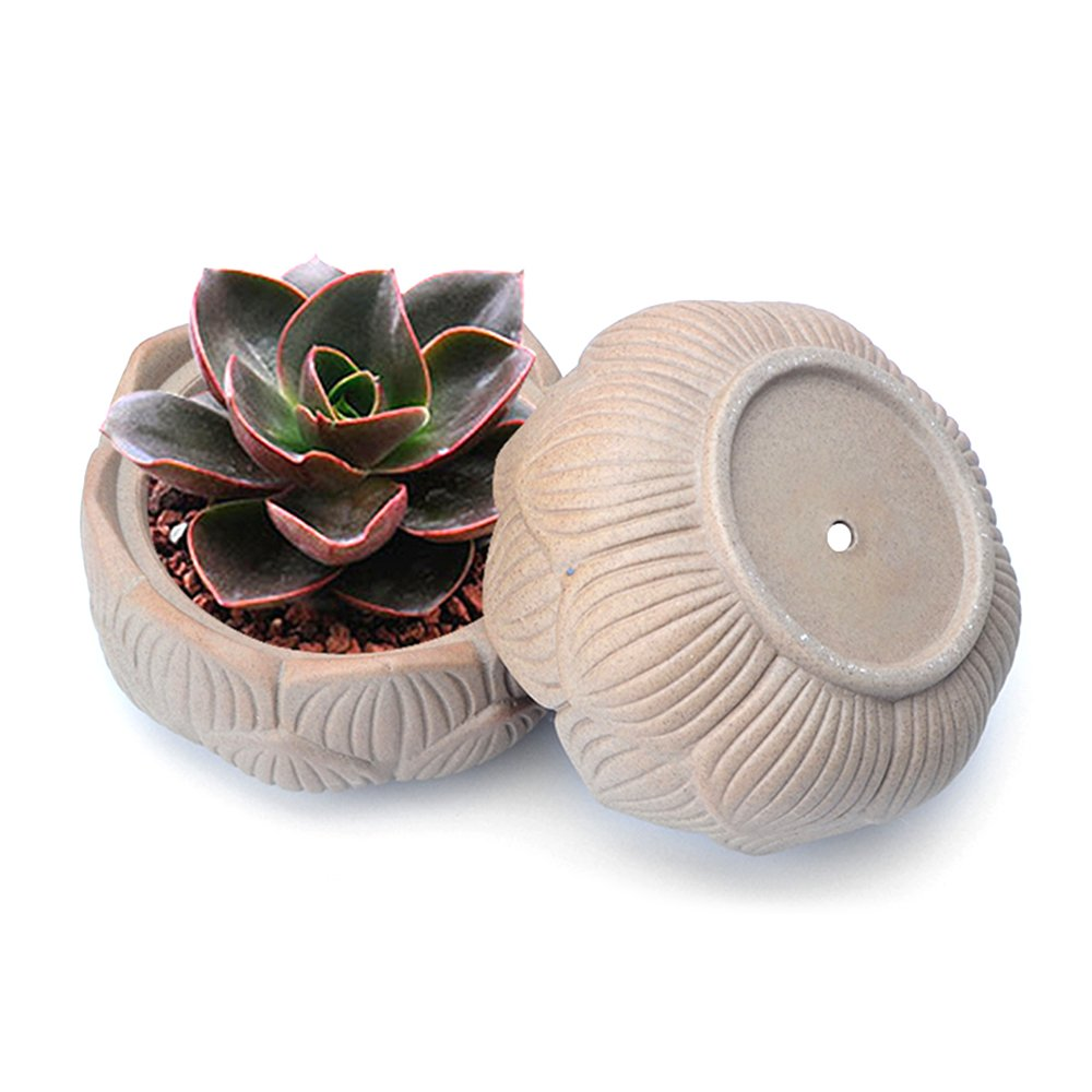 4-Inch Handmade Clay Lotus Succulent Plant Pots, Unglazed Earthenware Planters, Pack of 2 by Corasays