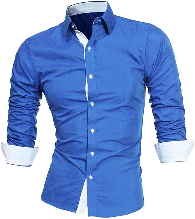 Luckycat Hombre Camisa Manga Larga Slim Fit Camisa Hombre Manga Larga Camisas Formales Negocios Camisa de Vestir Hombre de Algodón Regular Fit Talla Grande: Amazon.es: Ropa y accesorios