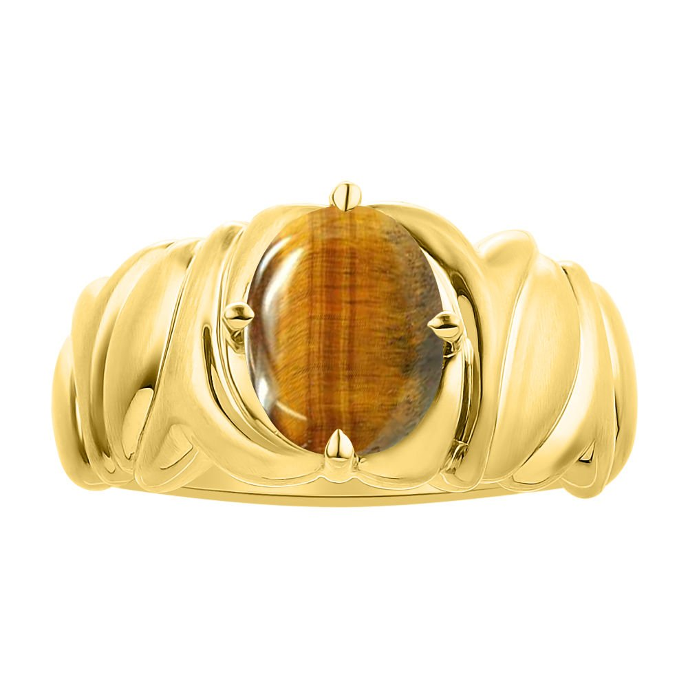 Solitaire Tiger Eye Ring Set In Yellow Gold Plated Silver - Color Stone Birthstone Ring