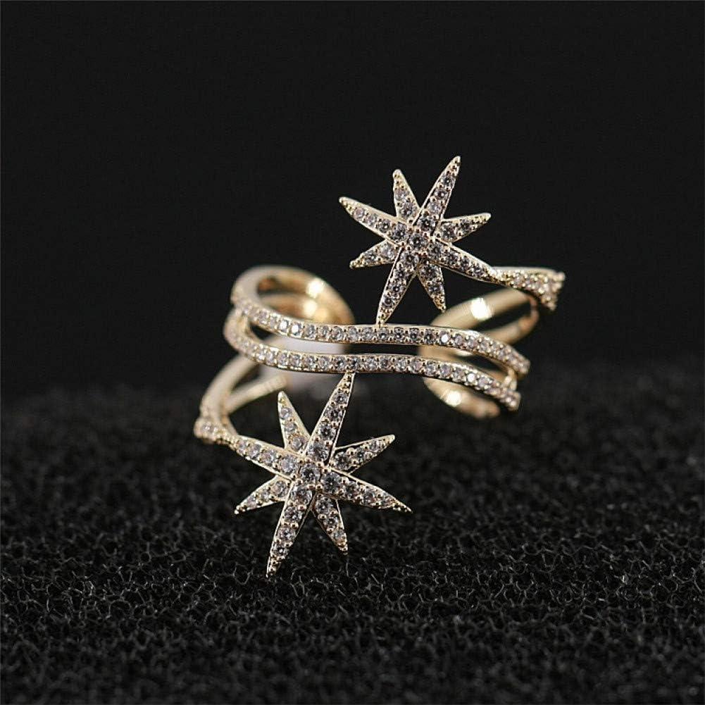 WWLZ Doble Fila Fila Anillo de Diamantes Personalidad Anillo Abierto Fina Mujer Dedo índice joyería Micro-Set circón Ajustable