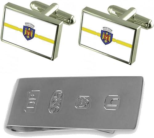 Moldova Flag Silver Cufflinks Tie Clip Box Gift Set
