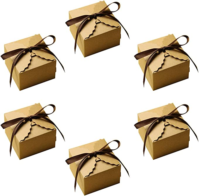 20pcs Kraft Paper Square Candy Box Rustic Wedding Favors Party Gift Boxes with Free Ribbon,DIY Handmade gift packing paper boxes