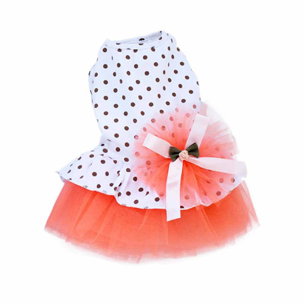 Woaills Dog Clothes, Puppy Princess Tutu Dress Pet Romantic Wave Point Gauze Skirt (XL, Orange)