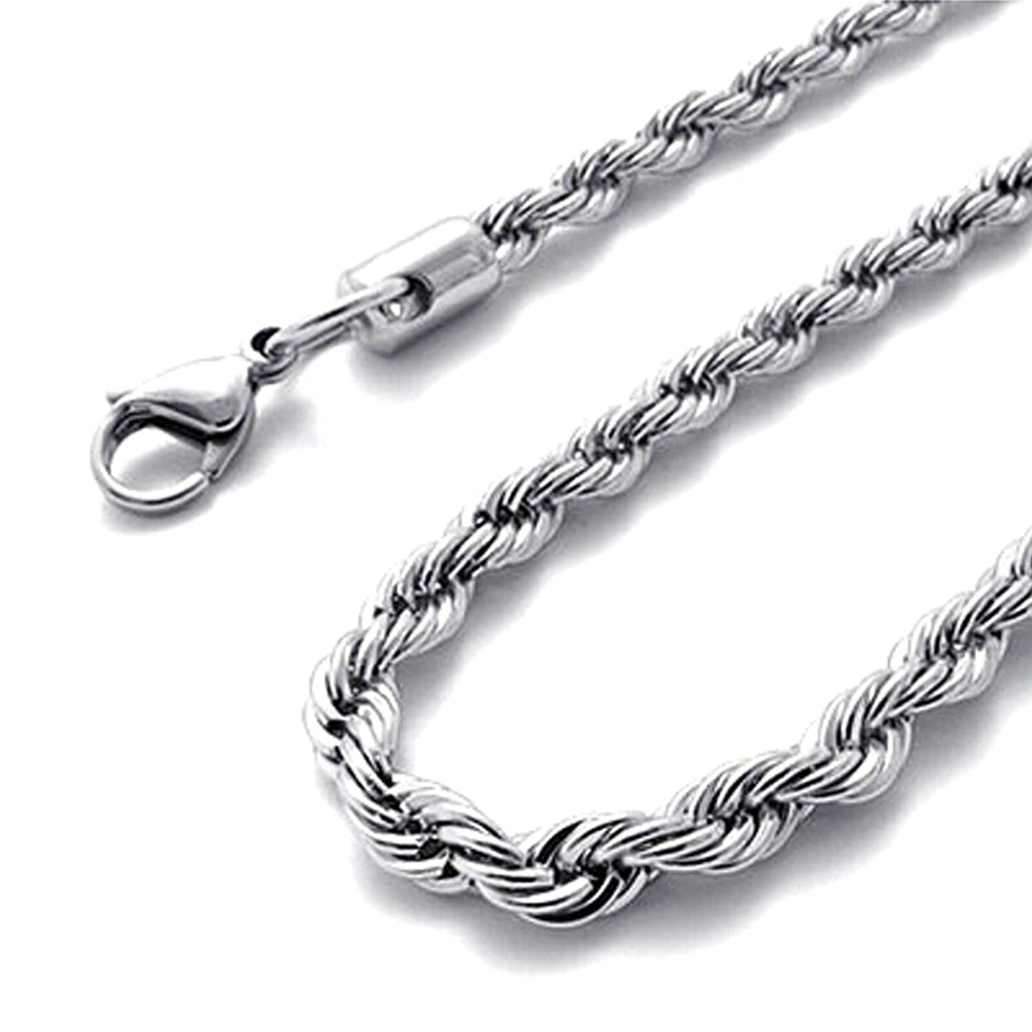 silver mechanic cm com steel stainless style amazon mens necklace black chain dp