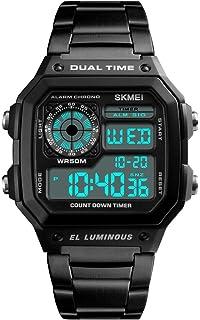 Mens Luxury Digital Quartz Waterproof Wrist Watches Dual Time Countdown Alarm Stopwatch Backlight Multi-Function